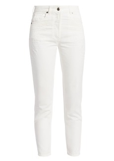 Etro Scroll Paisley Embroidered Cropped Skinny Jeans