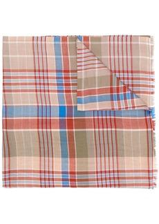 Etro Selvedged jacquard tartan pattern scarf