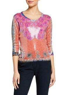 Etro Sequined Paisley Scoop Neck Sweater