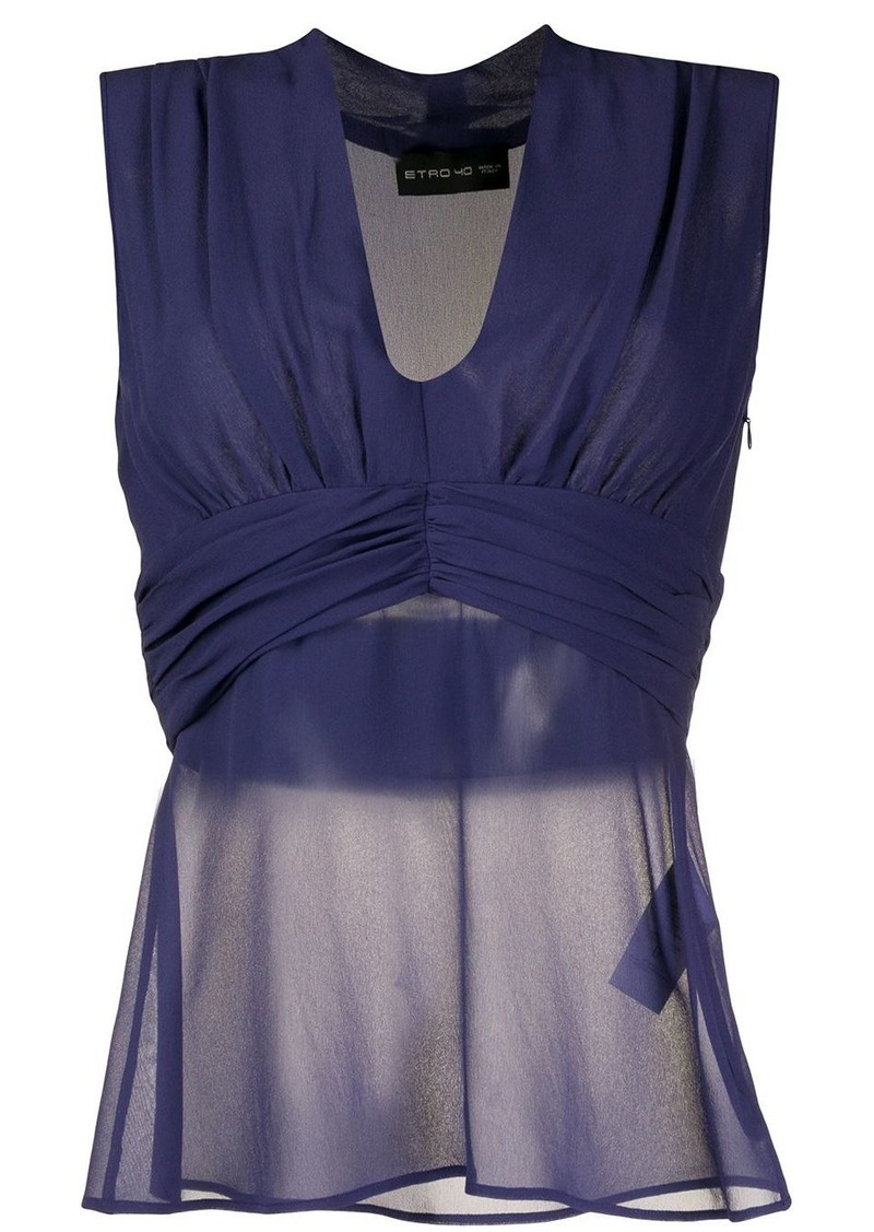 Etro sheer sleeveless fitted top