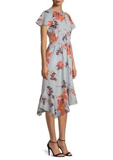 Short Sleeve Cotton Floral Midi Dress