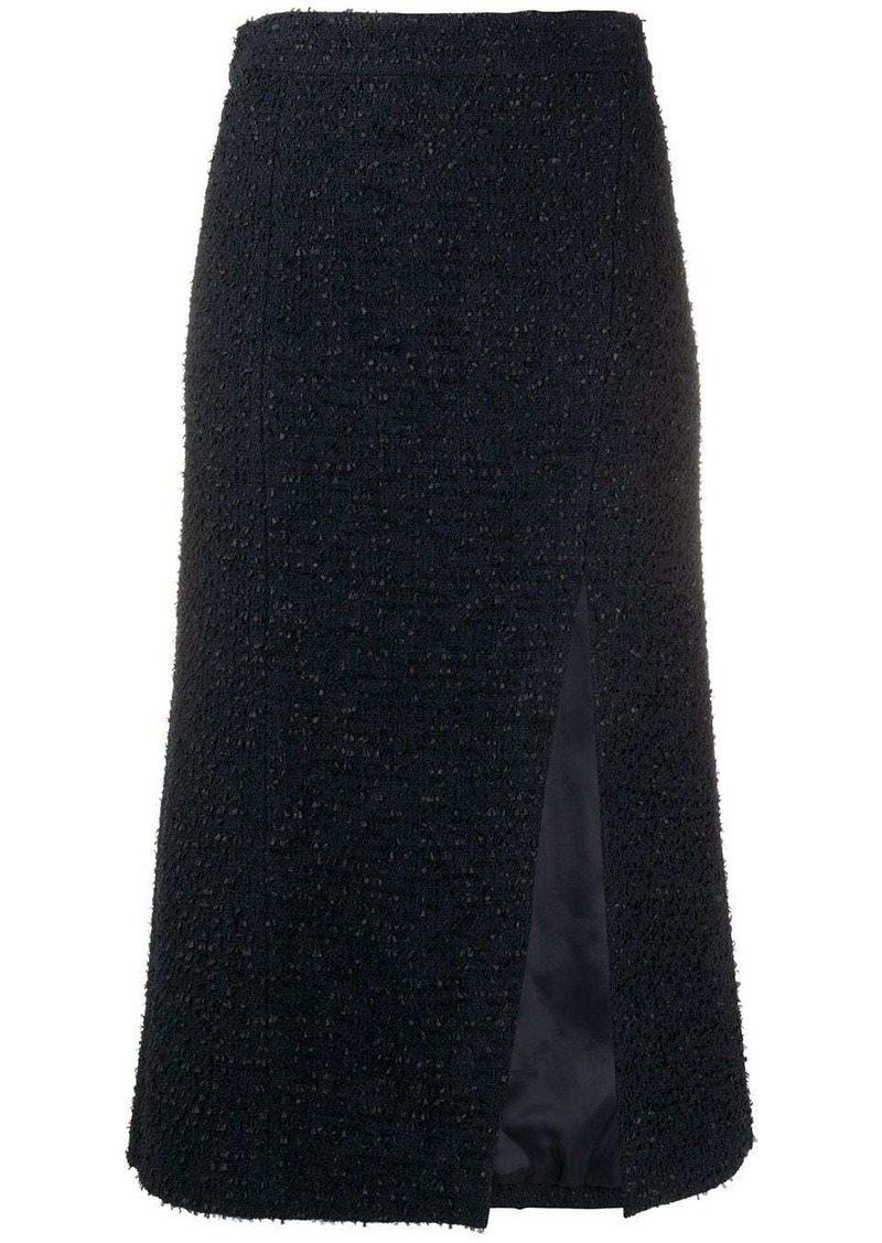 Etro side slit tweed skirt