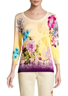 Etro Silk-Blend Floral Print Sweater
