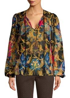 Etro Silk-Blend Lamé Printed Top