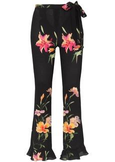 Etro silk floral waist tie trousers