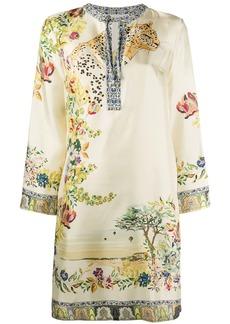 Etro silk long sleeve shift dress