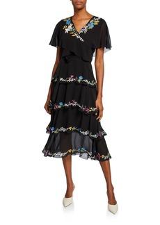 Etro Silk Wrapped Flutter Sleeve Dress