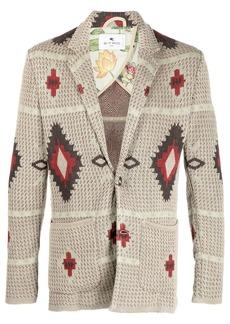 Etro single breasted geometric-knit cardigan