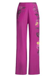 Etro Sketch Floral Wide Leg Pants