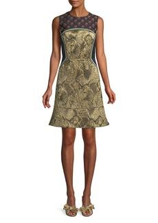 Etro Sleeveless Metallic Mixed-Brocade Flared-Hem Dress