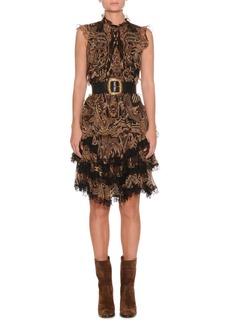 Etro Sleeveless Paisley-Print Silk Dress w/ Lace Trim