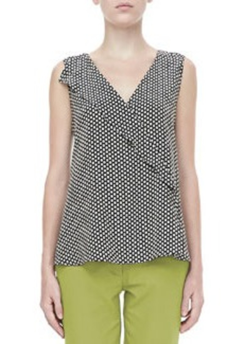 Etro Sleeveless Ruffled Dot-Print Blouse, Black   Sleeveless Ruffled Dot-Print Blouse, Black