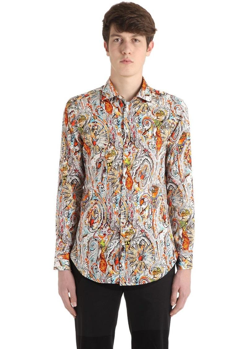 Etro Slim Paisley Print Cotton Shirting Shirt