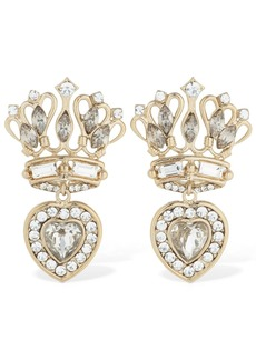 Etro Small Crown & Heart Earrings W/ Crystals