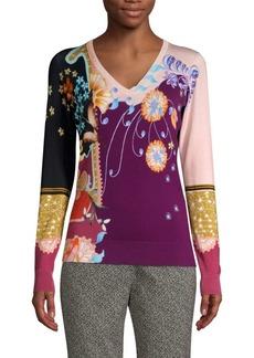 Etro Stretch Silk Printed V-Neck Knit Sweater