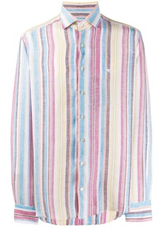 Etro striped embroidered logo shirt