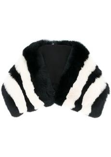 Etro striped fur collar scarf