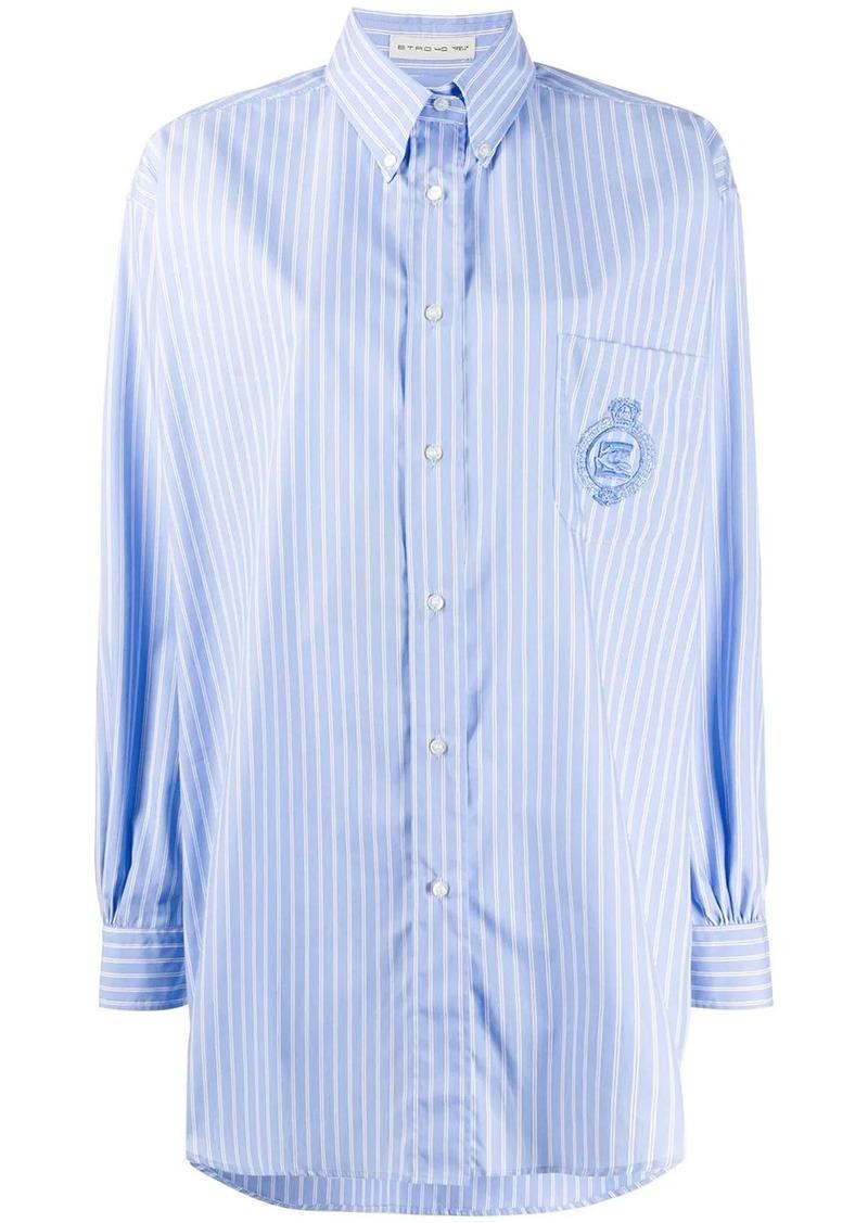 Etro striped long-line shirt
