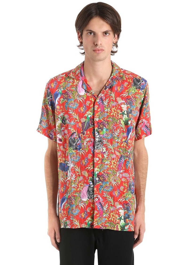 Etro Surreal Fluid Linen Short Sleeve Shirt
