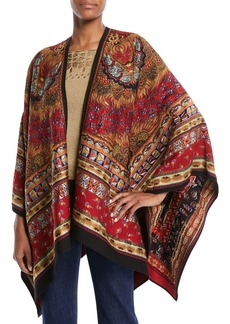 Etro Tapestry-Jacquard Open-Front Cape
