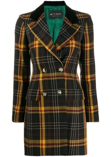 Etro tartan check double breasted coat