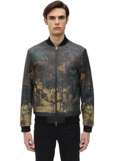 Etro Tattoo Print Leather Bomber Jacket