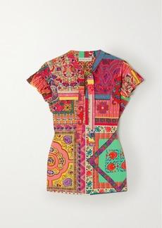 Etro Tie-neck Printed Cotton-poplin Top