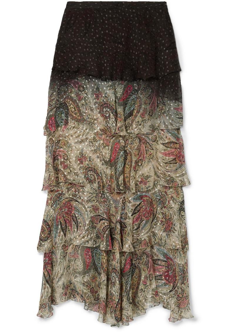 Etro Tiered Printed Fil Coupé Chiffon Maxi Skirt