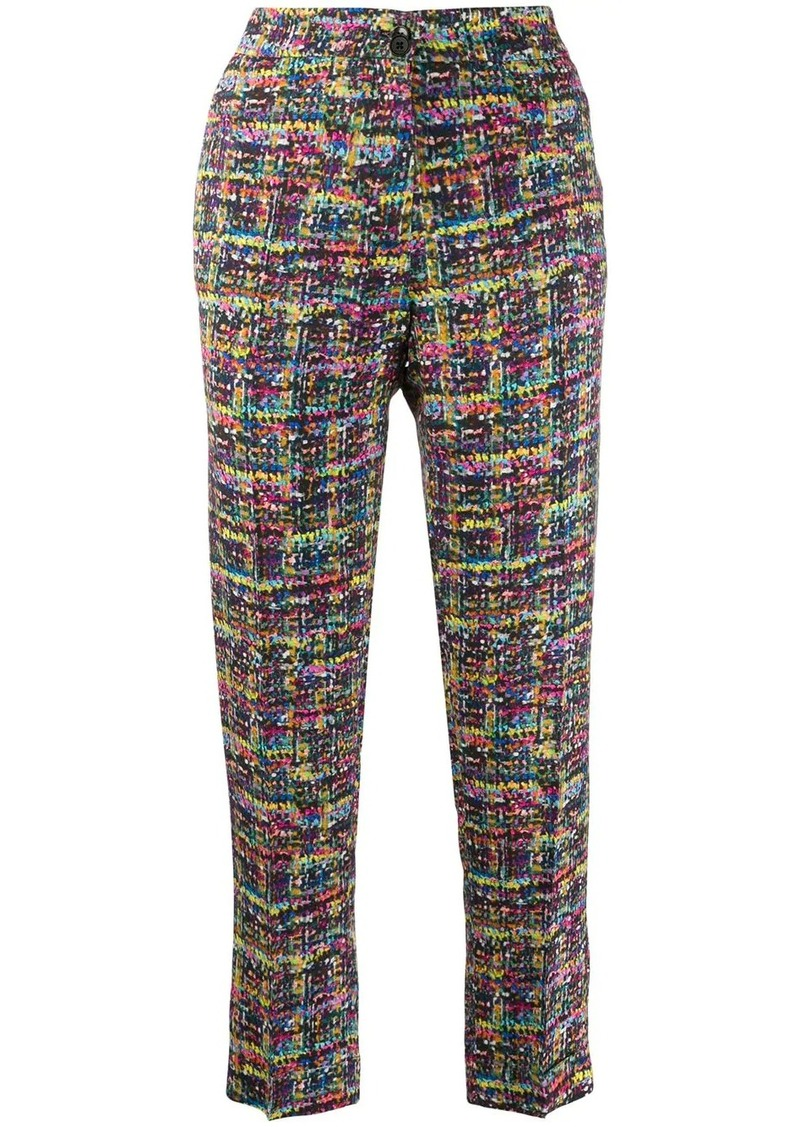 Etro tweed print cropped trousers
