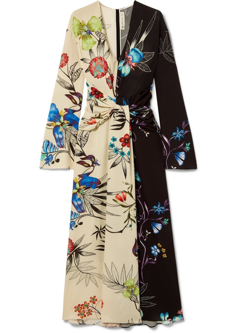 Etro Twist-front Floral-print Crepe De Chine Maxi Dress