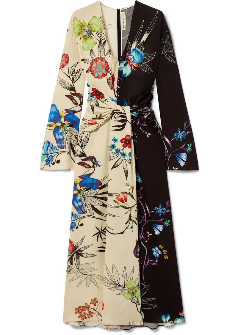 Etro Twist-front Floral-print Crepe De Chine Maxi Dress