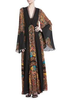 Etro V-Neck Flared-Sleeve Damask-Print Silk Long Gown w/ Lace Insets