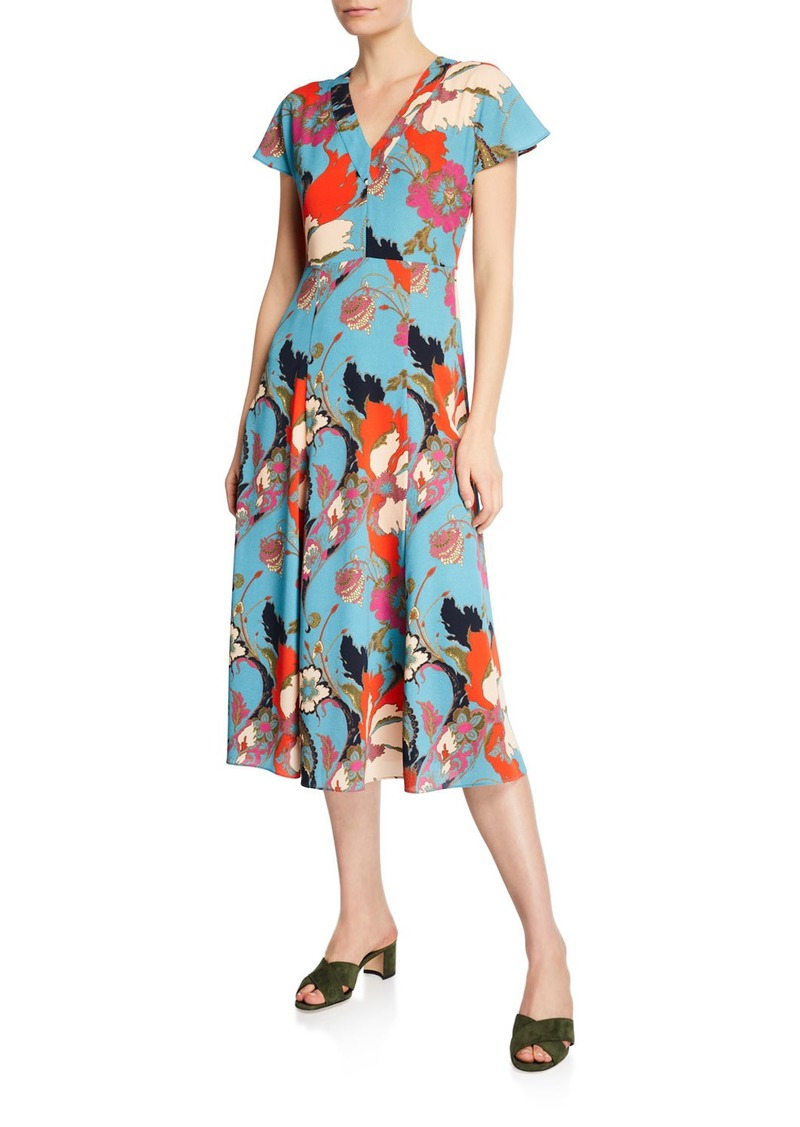 Etro V-Neck Flutter-Sleeve Printed Dress