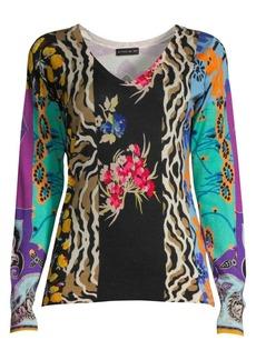 Etro V-Neck Patchwork Sweater