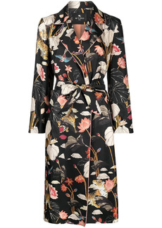 Etro Water Lily print belted coat