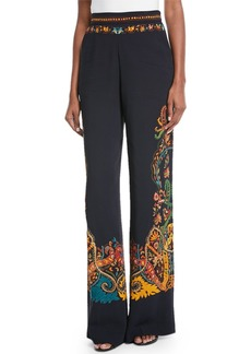 Etro Wide-Leg Placed Paisley-Print Pants