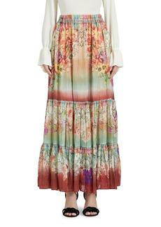 Women's Etro Beach Floral Print Tiered Metallic Silk Skirt