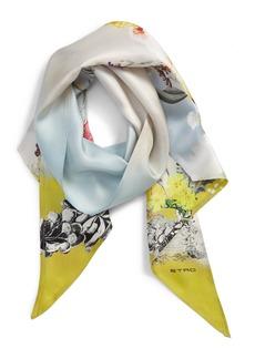 Women's Etro Bird Print Silk Skinny Scarf