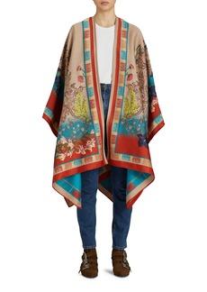 Women's Etro Floral Jacquard Wool Blend Cape