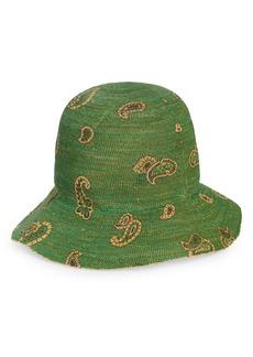 Women's Etro St. Tropez Paisley Raffia Hat - Green