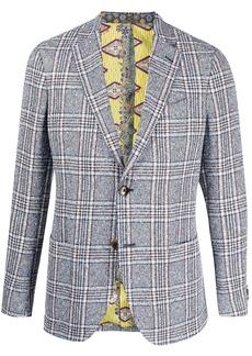 Etro woven linen check blazer