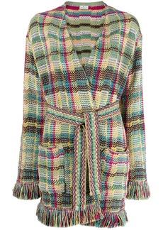 Etro woven plaid cardigan coat