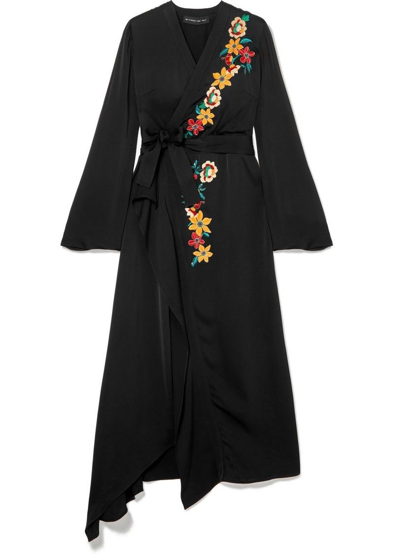 online store bd49c 50013 Wrap-effect Embellished Hammered-satin Dress