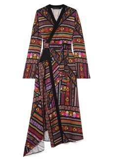 Etro Wrap-effect Printed Crepe De Chine Midi Dress