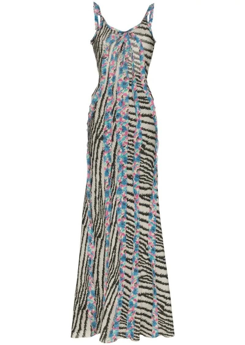 Etro zebra-print ruffled silk maxi dress