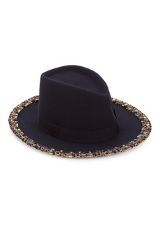 Eugenia Kim Blaine Tweed-Trimmed Wool Fedora