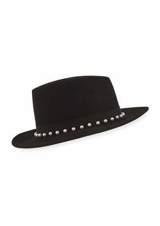Eugenia Kim Blaine Wool Fedora Hat w/ Swarovski Pearls