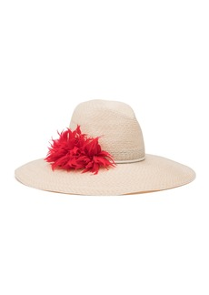 Eugenia Kim Carmen Feather-Trim Sun Hat  Ivory
