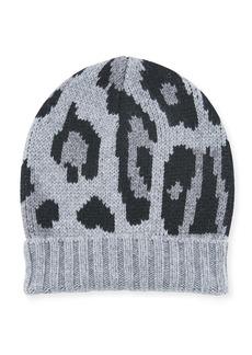 Eugenia Kim Alexis Leopard-Print Knit Cashmere Beanie