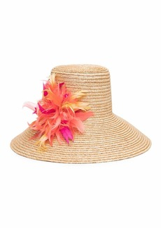 Eugenia Kim Annabelle Straw Sun Hat w/ Feather Trim